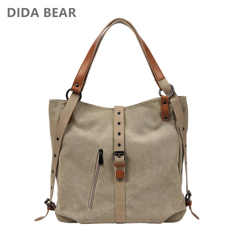 Didabear Brand Canvas Tote Bag Women Handbags Female Designer Large Capacity Leisure Shoulder Bags Big Travel Bolsas