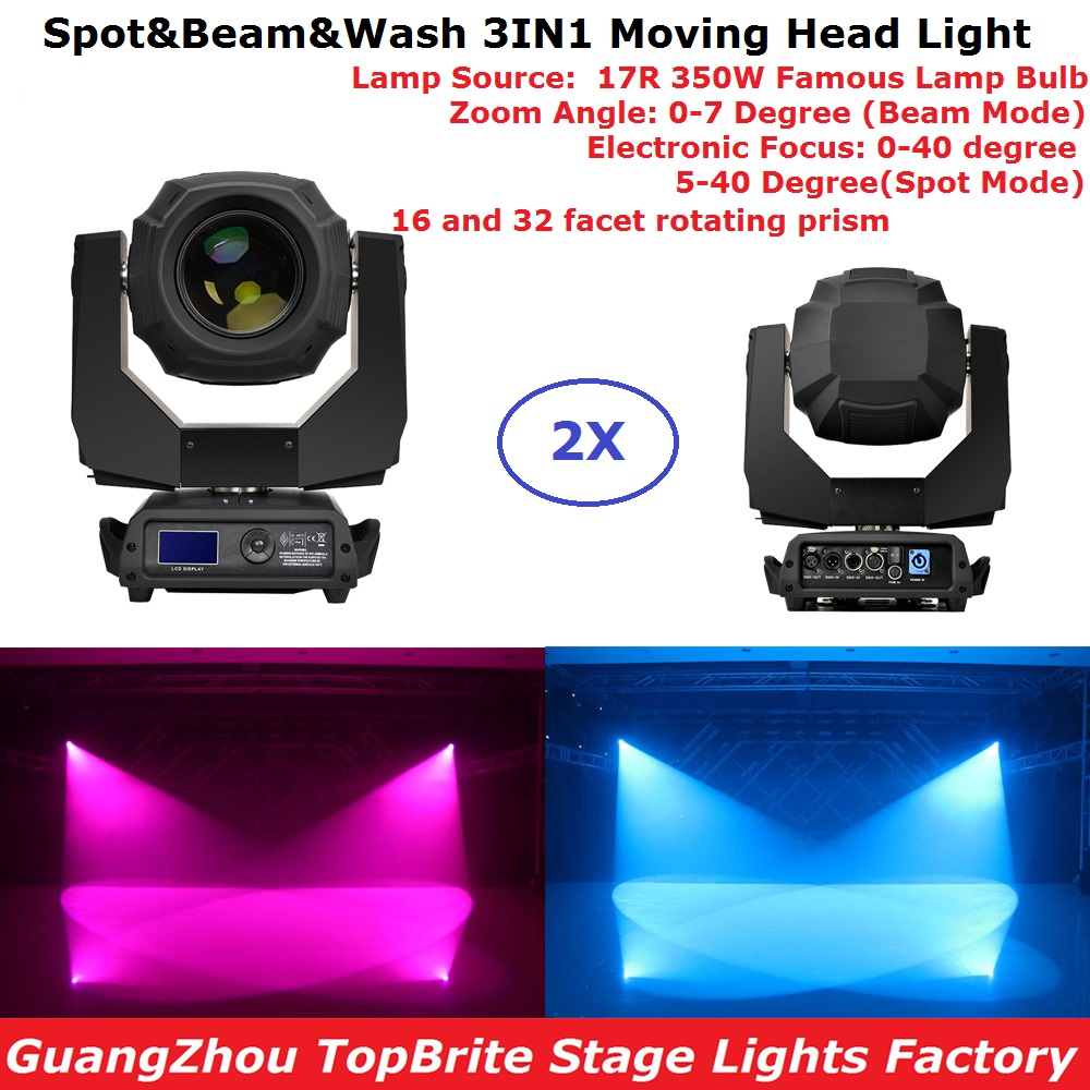 Flightcase Pack 350W 17R Beam Spot Wash 3IN1 Double Prism Moving Head Stage Light 0-40 Degree Electronic Focus Good For Dj Stage 2pcs lot flycase 16 prism power 350w 17r moving head beam sharpy light lyre gobos lumiere dmx 17r spot stage dj party lighting