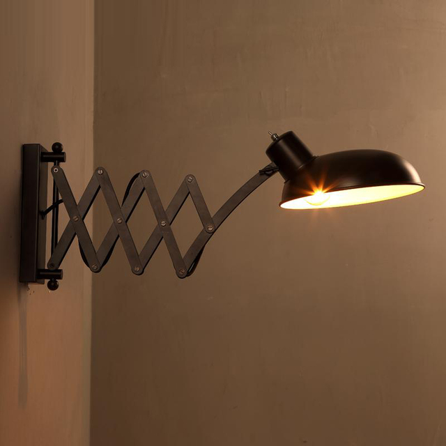 Retractable Wall Sconce Black Iron Wall Lamp Loft Vintage Wall Sconces  Extend Arm Wall Light Swing