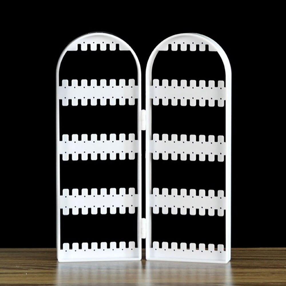 Ювелирные изделия Висячие Держатель пластиковые 2 двери серьги кронштейн стойки аксессуары подарки Подставка серьги рамка ювелирное шоу - Цвет: white