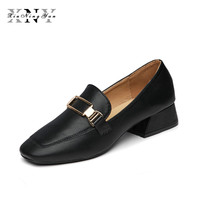 XiuNingYan Flat Shoes Women British Style Loafers Shoes Ladies Footwear Square Toe Oxfords Shoes Soft Leather Shoes Woman Flats