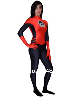 Free Shipping Red Lanterns Spandex Superhero Costume