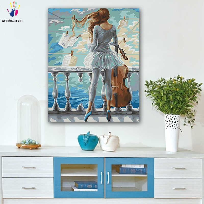 DIY colorings pictures by numbers with colorsThe girl who plays the cello painting by numbers framed Home