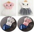 Летние девушки комплект одежды кот майка пряжа пачки кружева юбка дети детской одежды костюмы мода малышей одежда