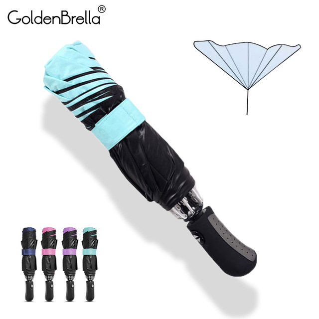 Reverse Fully-automatic Umbrella Rain Women Men Windproof 3Folding Black Coating Sun Umbrella Car Business Gifts Men Umbrellas