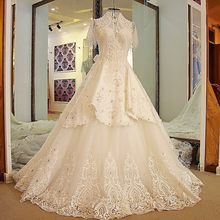 Backlake Latest Long Train Wedding Dresses High Neck Bling Beaded Rhinestone  Ball Gown Short Sleeves Wedding bfcc2481af15