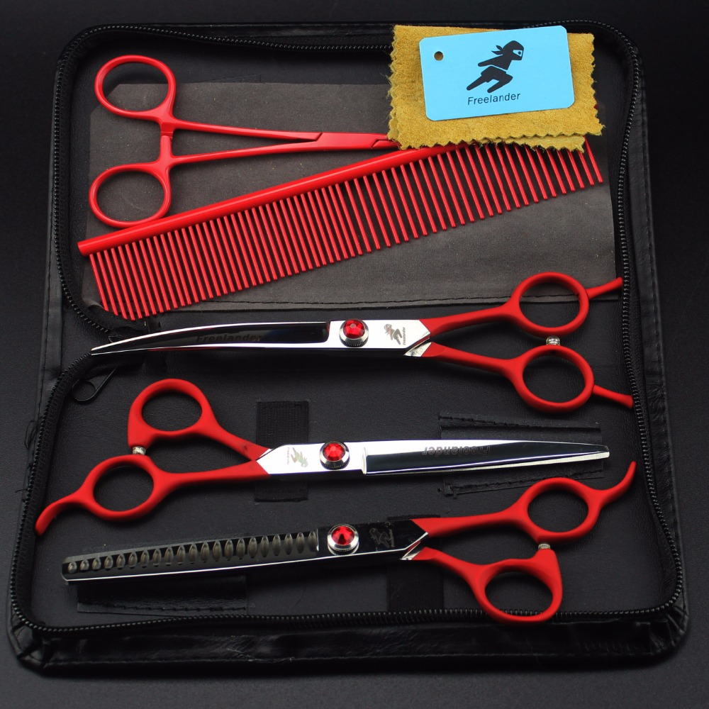 Japan 440C 7.0 inch Dog Scissors Pet Grooming Scissors Professional Dog hair Cutter Straight &Thinning& Curved scissors