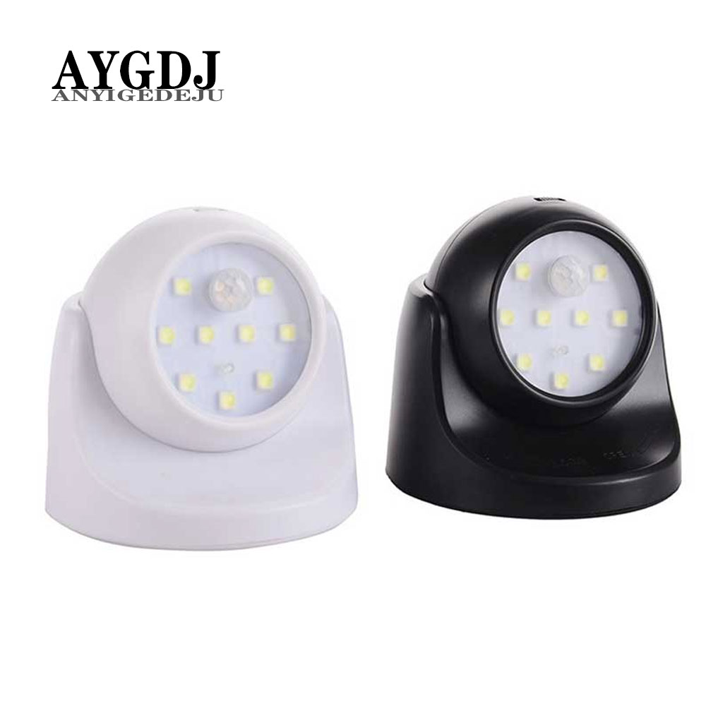 9 LEDs 360 Degree Rotation Motion Light Sensor Night Light Battery Operated Corridor Wall Night Light For Closet Garages Hallway