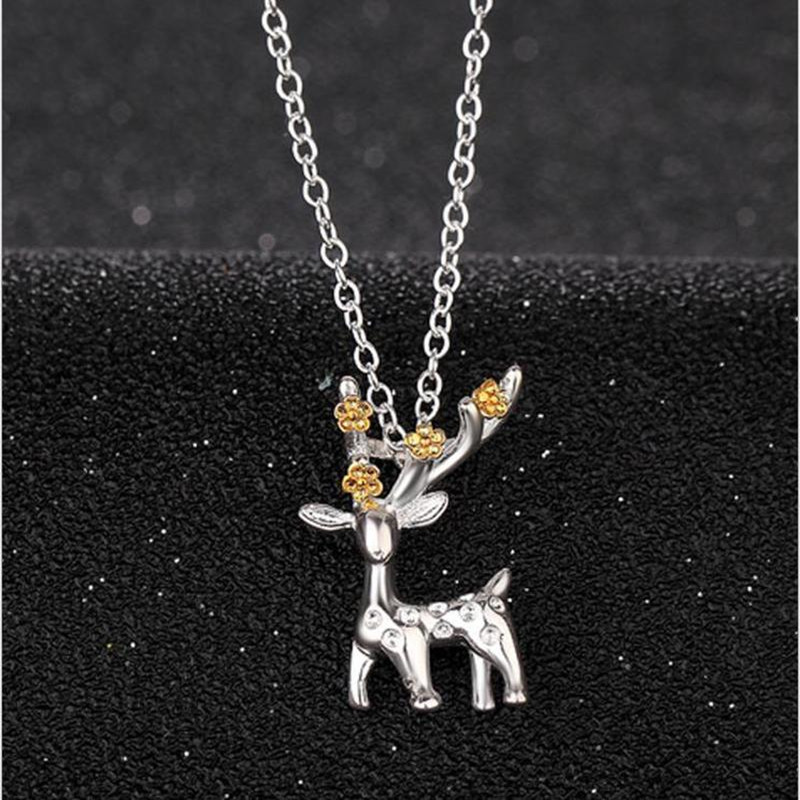 TJP Exquisite Crystal Deer Female Pendant Necklace Jewelry Vintage 925 Sterling Silver For Women Birthday Accessories
