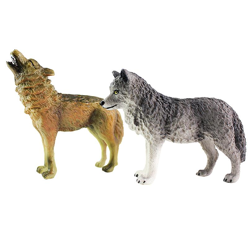 Kids Toy Craft Wolf Figurine Wild-Animal-Model Decoration Realistic-Collection 2pcs Desktop-Ornaments