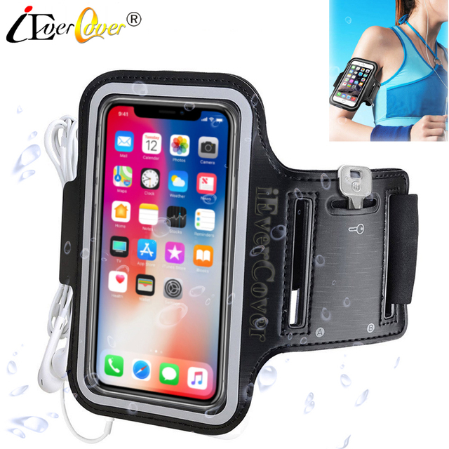 finest selection d4a82 91579 US $3.03 24% OFF|Sport Running Arm Band Case for iPhone X XS 8 7 6 6S Phone  Waterproof PU Leather Bag Cover Capa Fundas-in Phone Pouch from Cellphones  ...