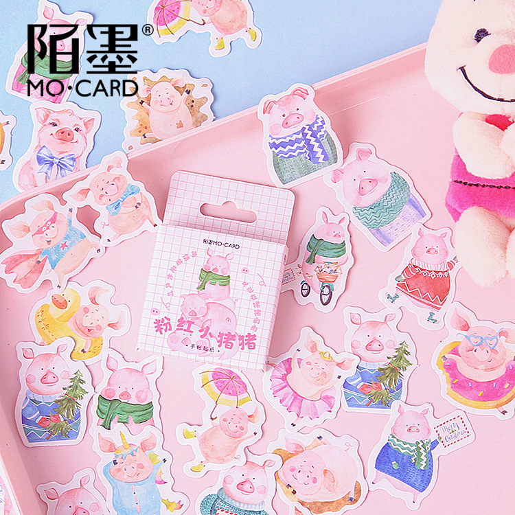 Cute Pink Pig Decoration Adhesive Stickers Diy Cartoon Mini Stickers Set Diary Sticker Scrapbook Kawaii Stationery Stickers