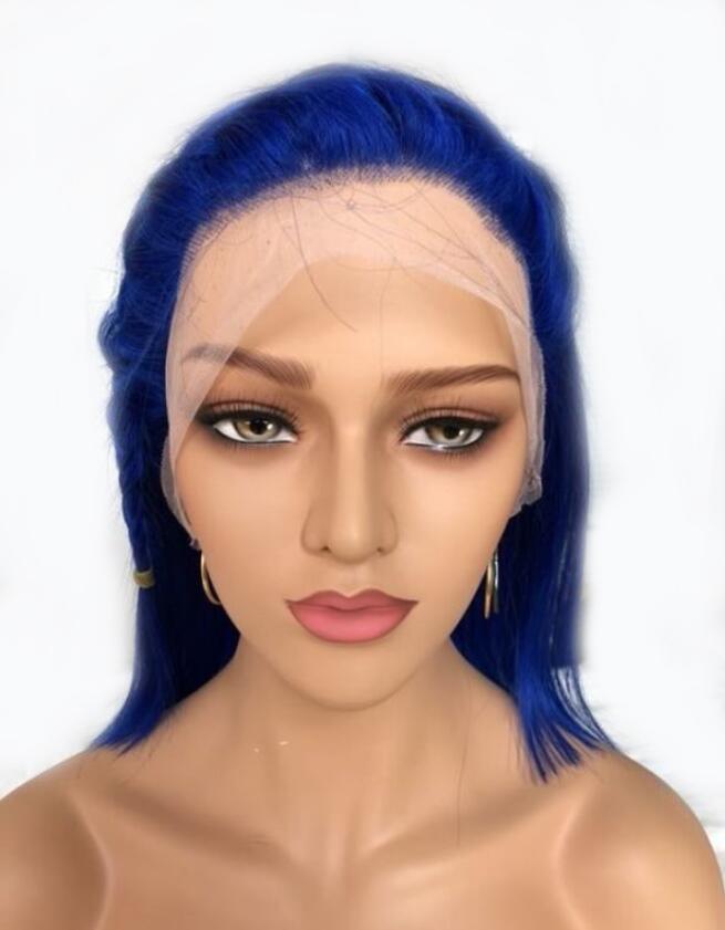 13x6 Blue Bob Wig 180 Density Short Lace Front Human Hair Wigs PrePlucked Straight Indian Remy