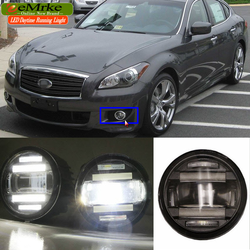 eeMrke For Infiniti M M37 M56 Y51 Q70 Q70L 2in1 Multifunction LED Fog Lights DRL With Lens Daytime Running Lights