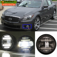 eeMrke For Infiniti M M37 M56 Y51 Q70 Q70L 2in1 Multifunction LED Fog Lights DRL With Lens Daytime Running Lights