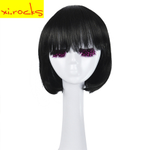 3071 Xi.Rocks Short Straight Hair Synthetic Black Wig Bob Bangs Style Full Fiber For Women Girl Heat Resistant Free Shipping trendy full bang capless brown highlight bob style short straight synthetic wig for women