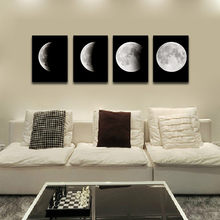 4pcs Lunar Phase Change Unframed Painting Moon Goes Through Its Cycle Inkjet Oil Canvas Painting Ink Painting Poster Wall Art(China)