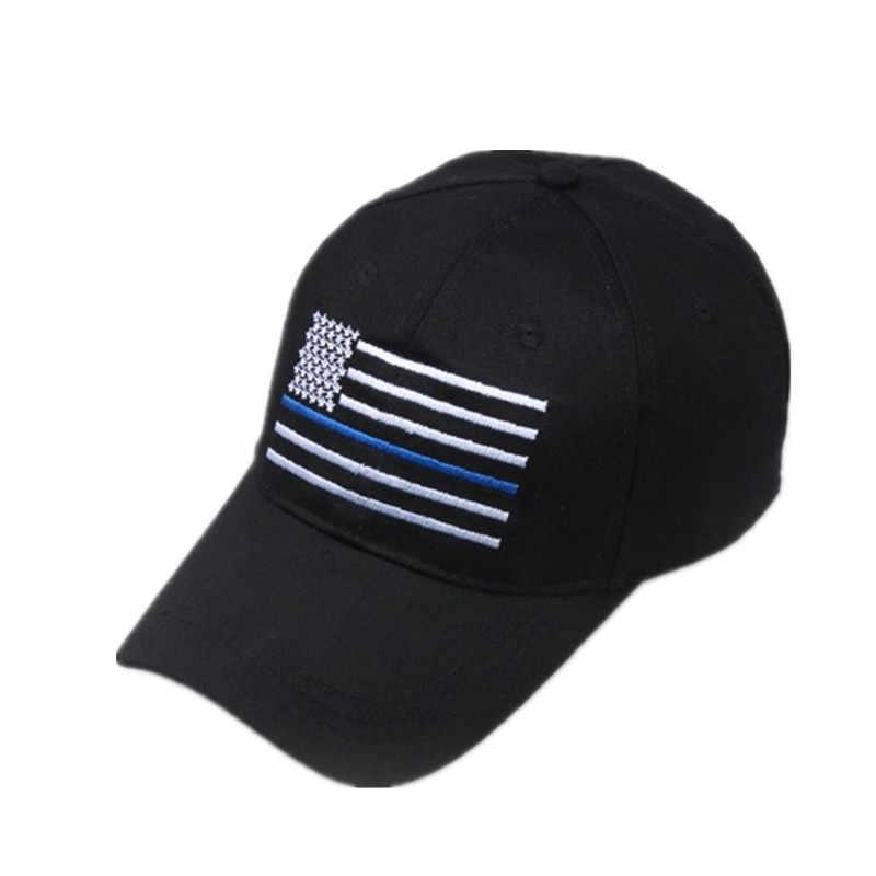 חדש אופנה אמריקאי דגל דק כחול קו דגל נמוך פרופיל טקטי כובעי לחוק משטרת אכיפת חזרה את כחול לרקום כובע