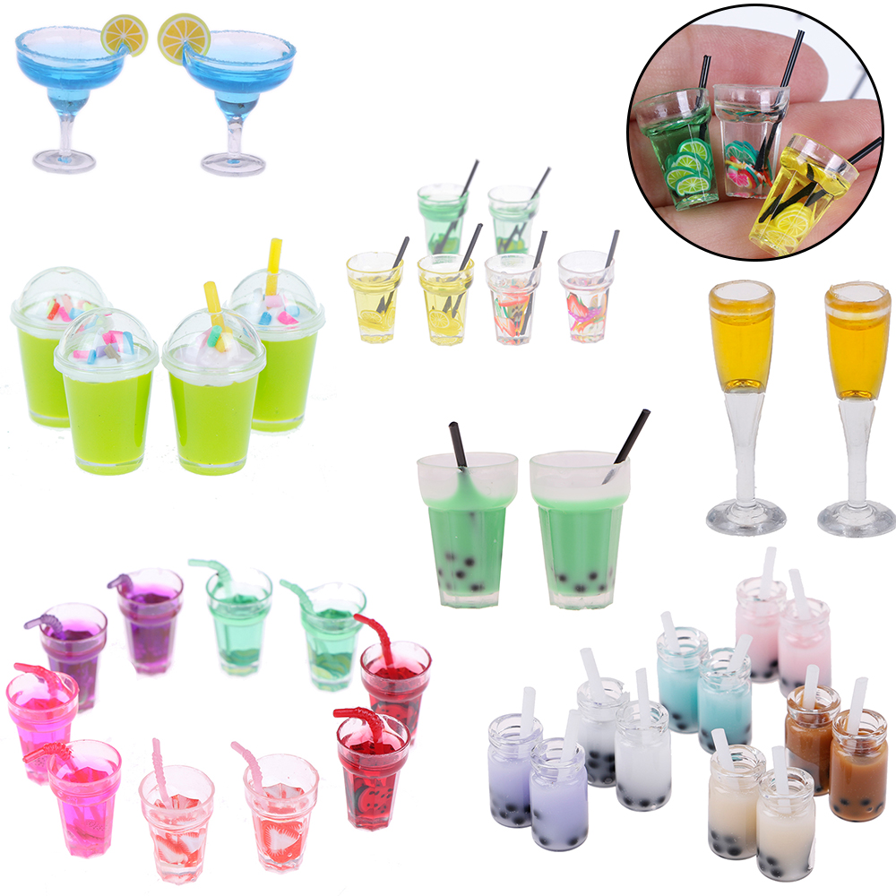 2pcs New Mini Lemon Water Fruit Milk Cup 1: 12 Scale Miniature For Doll House Kids Baby Kitchen Toys