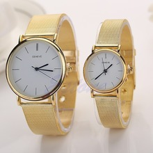 Luxury Stainless Steel Mesh Band Men's Women's Couple Lover Quartz Wrist Watch