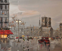 Oil Painting Canvas Retro City Street Landscape 1 Piece Modern Style Cheap Oil Pictures Decorative Wall
