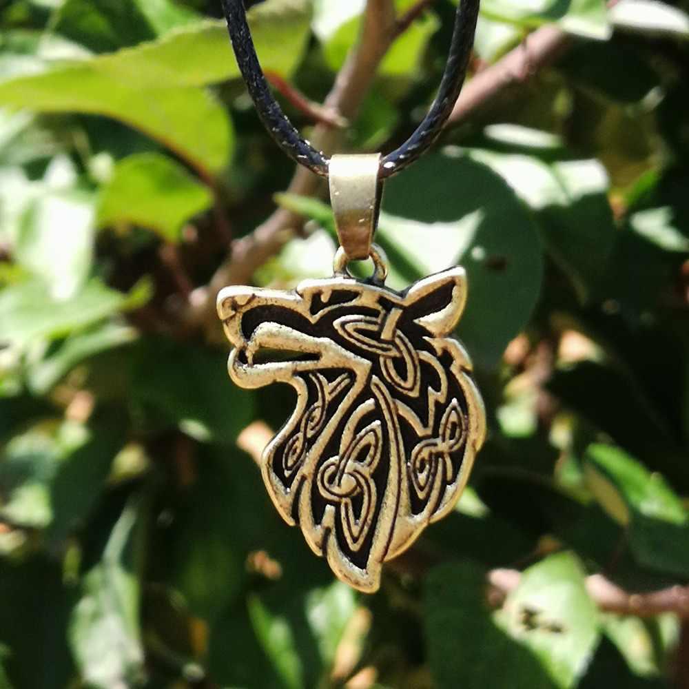 Węzeł wilk wisiorek zwierząt naszyjnik dla par Pagan biżuteria Drop Shipping