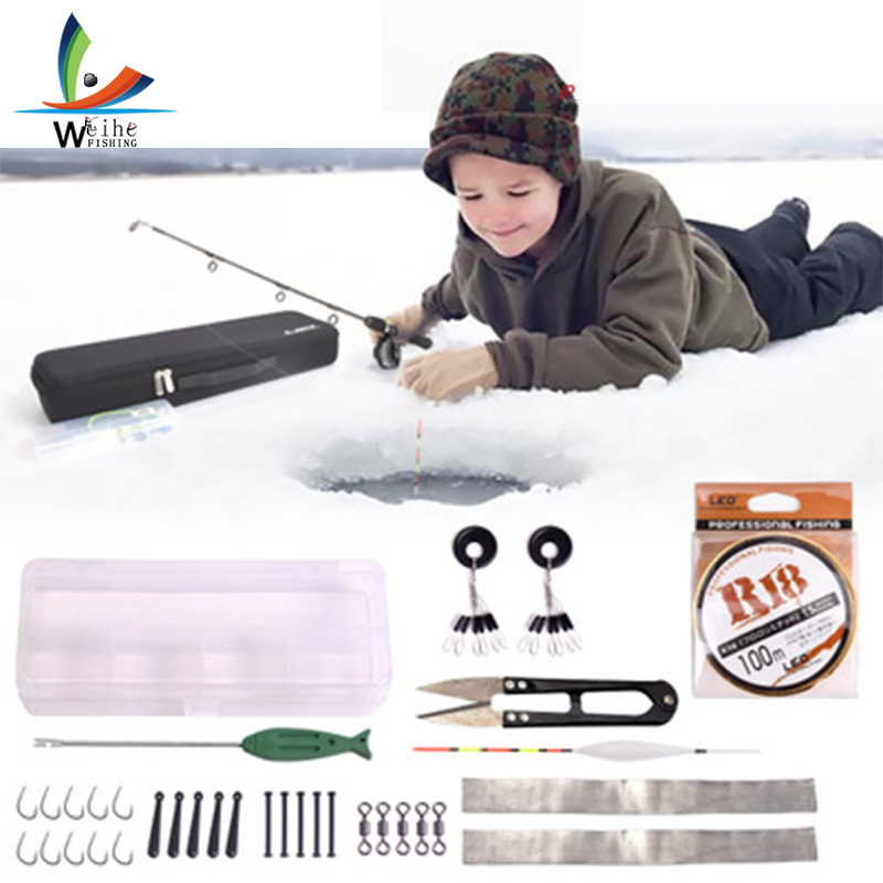 Kit complet de moulinet de canne à pêche sur glace 80 cm ensemble complet avec ligne de poisson leurres crochets flotteurs avec sac de pêche accessoires de pêche