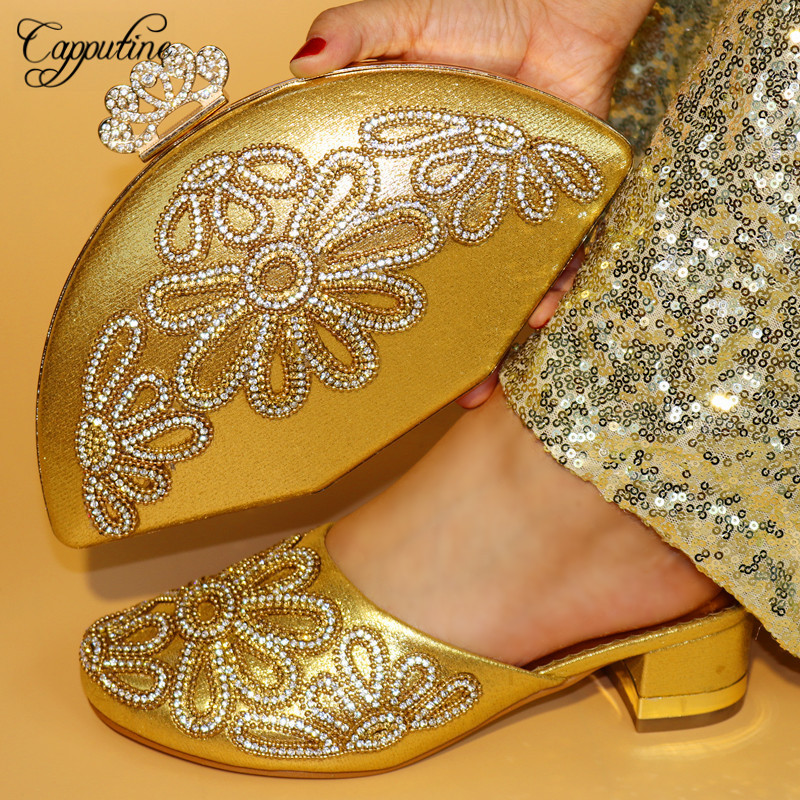 Capputine Gold Color Rhinestone Woman Slipper Shoes And Bag Set 2018 Hot African Fashion Shoes And Bag Set For Party On Stock capputine african style crystal shoes and matching bag set for party fashion women pumps slipper shoes and bags set size 37 43