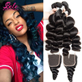 Bele Virgin Hair 7a Mink Peruvian Loose Wave 4 Bundles With Lace Closure 100% Human Hair Weave Peruvian Virgin Hair With Closure