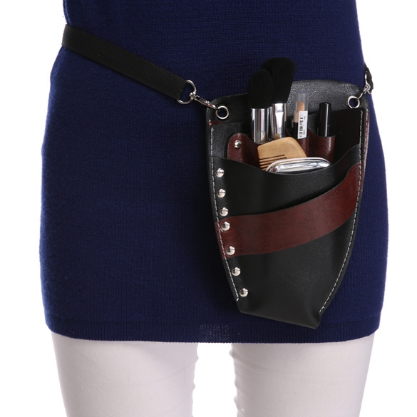 Faux Leather Barber Scissors Hairdressing Kit Bag with Shoulder Waist Belt Case Holder Rivet Clips Bag
