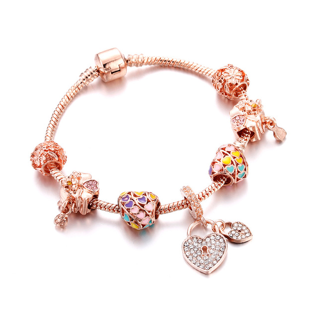 Bracelets Luxury Crystal Rose Gold Chain Heart Flower Tassel Pendant Bangles For Women Girl DIY Design Snake Chain Charm Jewelry