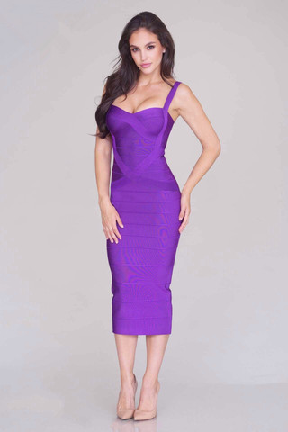 purple best quality sweetheart 2018 new fashion spaghetti strap sexy girl bodycon cross midi bandage dress