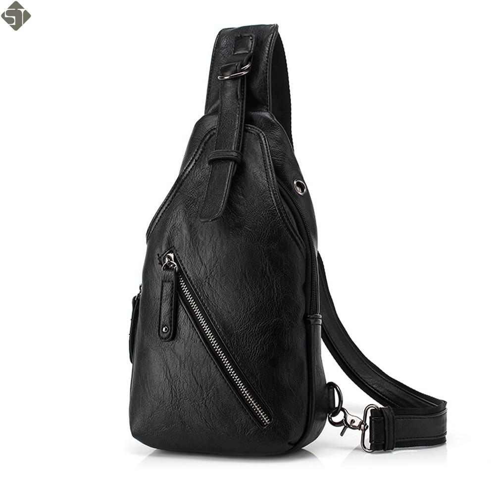 FUSHAN Men Messenger Bags Leather Chest Pack Casual Men's Travel Shoulder Bag Bag Crossbody Sacoche Homme