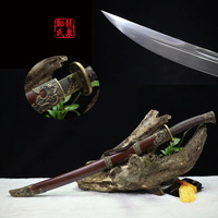 Acero de Damasco Espada de Bronce Antiguo Chino Real Qing Dao Arte Del Metal la Decoración Del Hogar Arte Marcial de Suministro