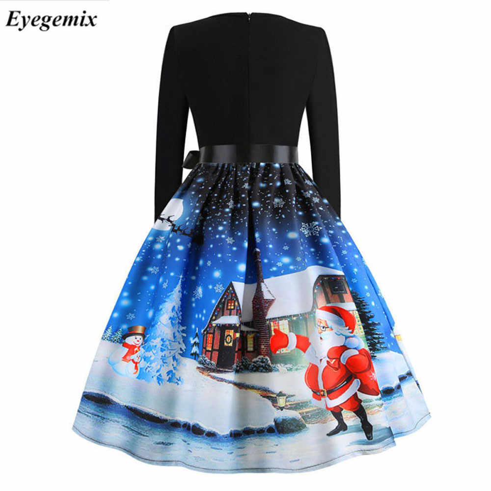 ... Vintage Print Christmas Dresses Women Fashion 50S 60S Long Sleeve Party  Swing Dress Ladies Plus Size ... 2938f4a8c560