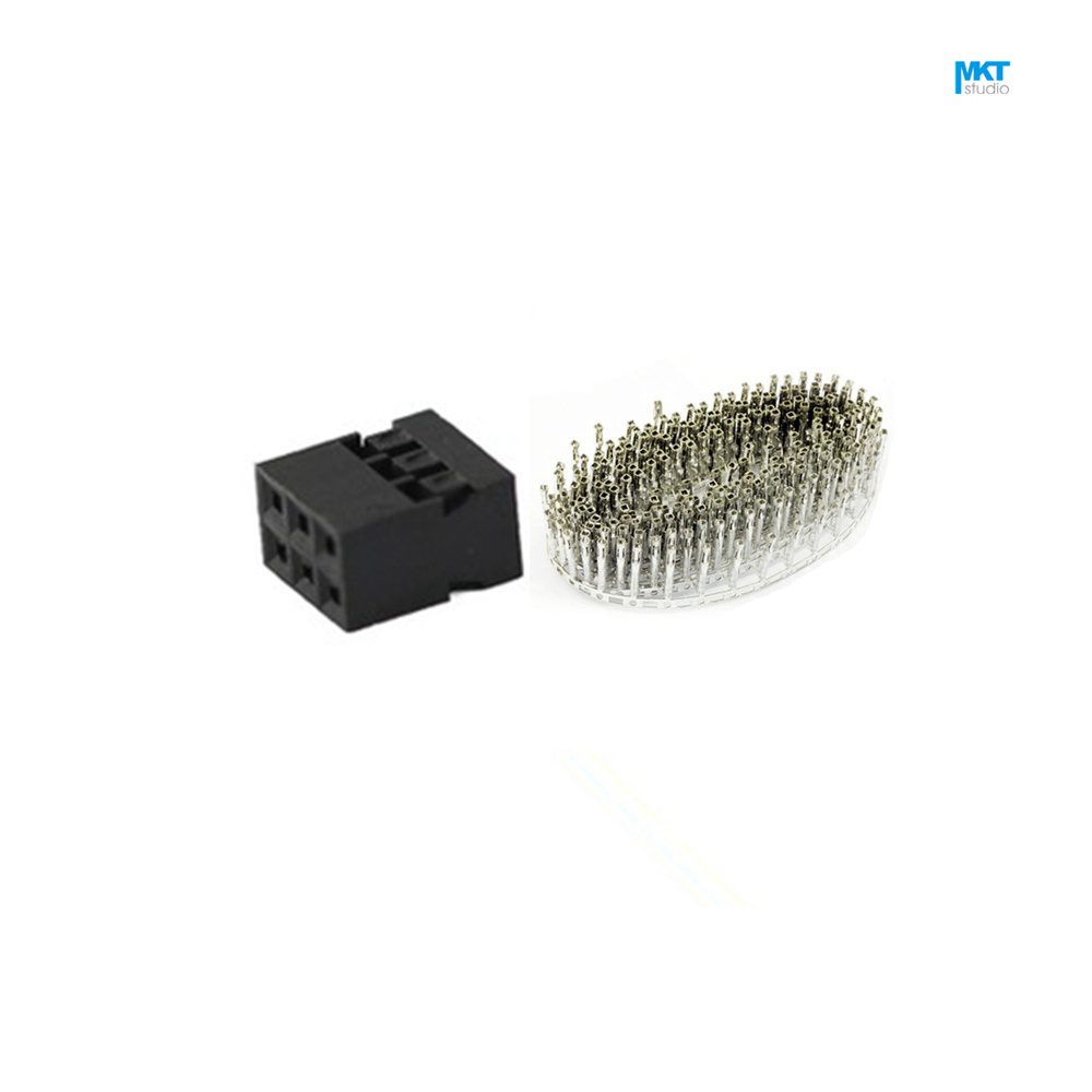 100Pcs Complete Set 2.54mm Spacing Pitch 2*3 Pins Female Dupont Header Connector + Crimps