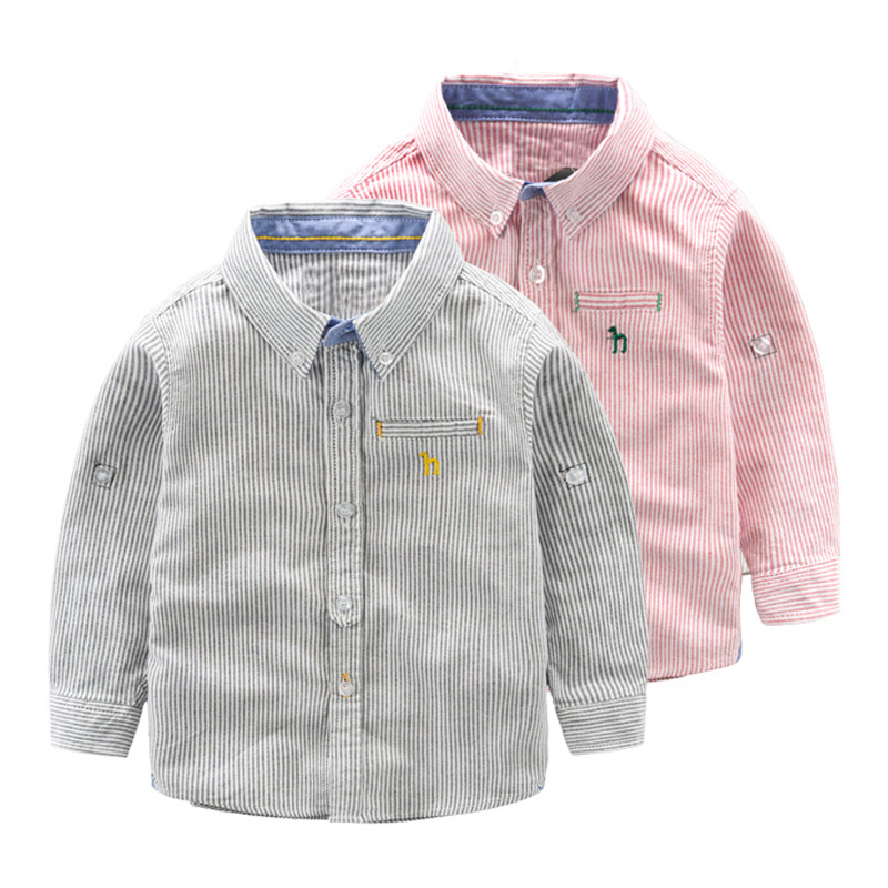 Mioigee 2018 Spring Autumn Shirts for Boys Clothing Fashion Striped Cotton Long Sleeve Shirts Kids Boys Cardigan Children Shirt