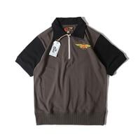 BOB DONG MOTORCYCLE Style Men's T Shirt Turn down Collar 1/2 Zipper Tee Shirt Vintage Retro Short Sleeve T Shirt Biker Tops