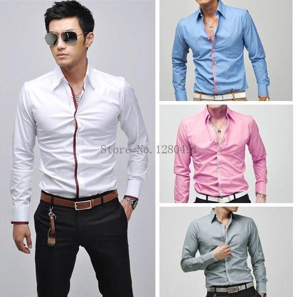 Alta calidad hombre camisa Slim Fit moda de manga larga