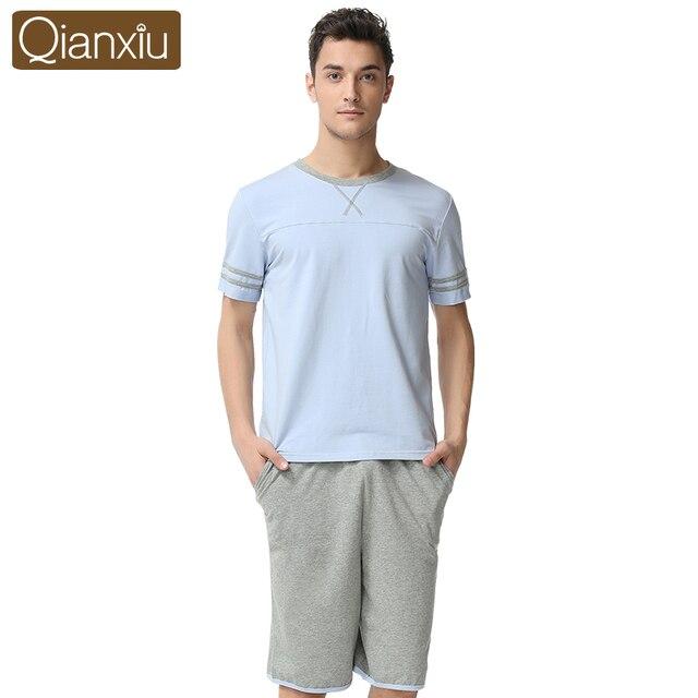 Qianxiu Pajama For Men Summer Modal Men pajama Set Couples O-neck  Sleepwear homewear