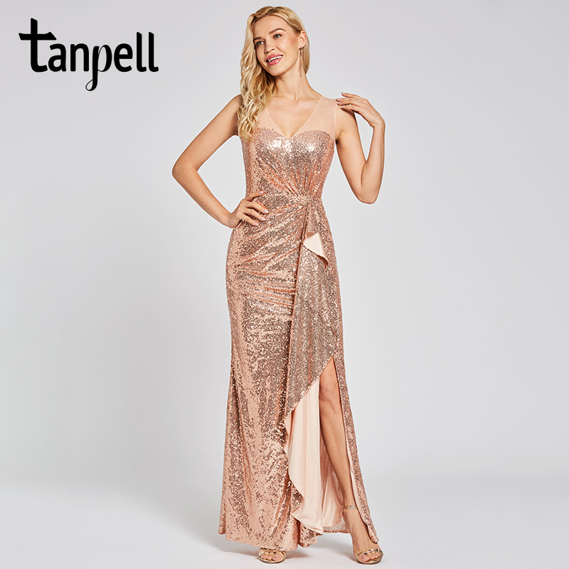 Tanpell presale sequins evening dress champagne v neck sleeveless floor length sheath gown lady party formal long evening dress-in Evening Dresses from Weddings & Events    1
