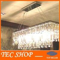 JH New Modern Rectangle K9 Crystal Chandelier Restaurant Light Luxury Lustres Crystal Lamp For Bar E14