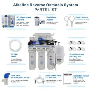 Image 5 - 6 Stage Household Under Sink Reverse Osmosis Drinking Water Filter System with Alkaline Remineralization Natural pH   100GPD