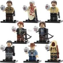 Walking Dead Figure set 8pcs/lot Rick Grimes Calro Carl Negan Daryl Dixon Morgan Building Blocks Zombie Models Bricks Toys