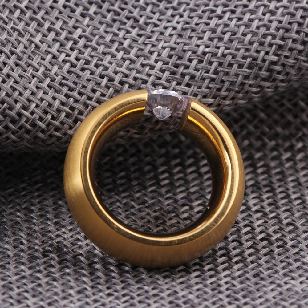 Gold-Color 316L Stainless steel Wedding Rings for Women Men 6