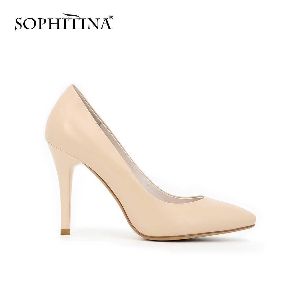 SOPHITINA Classics Thin heel Wedding ladies pumps Sexy shallow Party slip-on high heels Pointed Toe high quality women shoes D56 women studded high heels pointed toe sexy pumps new 2017 ladies slip on thin heel shoes riveted free shipping