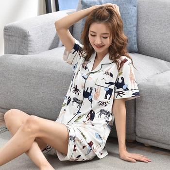 5d97933a46d9 2 piezas damas pijamas de algodón 100% Sets 2019 salón dormir Bedgown para  las mujeres Camisón de algodón pijamas de desgaste de ocio ropa de casa
