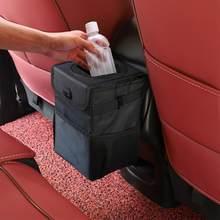 Cubo de basura impermeable para coche, organizador de accesorios de coche, cubo de basura para coche, bolsillos de almacenamiento, portátil y cerrado
