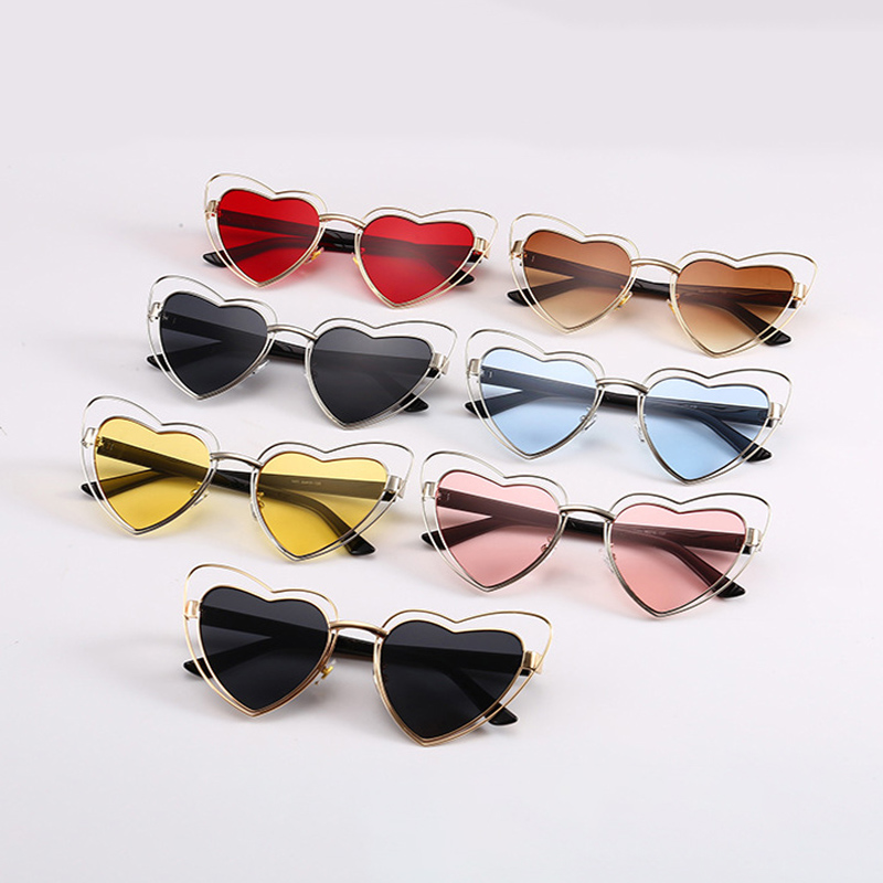 2e348f2431 HBK Fashion Love Heart Cute Cat Eye 2018 Clear Lens Women Sunglasses Men  Best gift Shape Sun Glasses Vintage Oculos Summer Frame-in Sunglasses from  Apparel ...