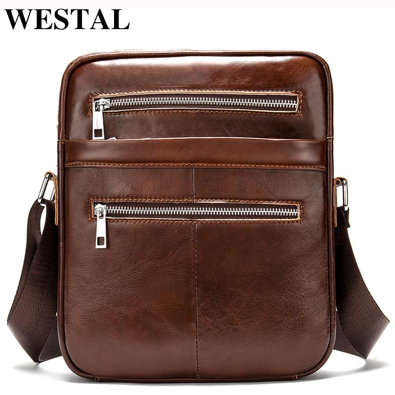 4e1fcfbb4252 WESTAL сумки для мужчин 2019 сумка пояса из натуральной кожи Винтаж Мужские  сумки через плечо мессенджер